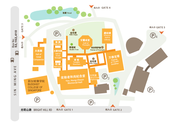 Map to Buddhist College of Singapore